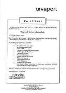 """Zertifikat """"Fachkraft für Korrosionsschutz"""""""