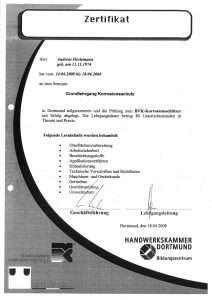 """Zertifikat """"Grundlehrgang Korrosionsschutz"""""""