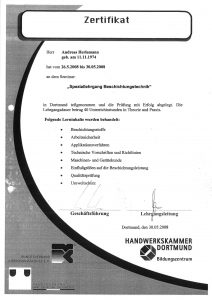 """Zertifikat """"Speziallehrgang Beschichtungstechnik"""""""