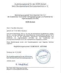 """Zertifikat """"KOR-Schein"""""""