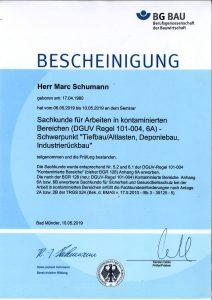 """Bescheinigung Seminar """"Sachkunde für Arbeiten in kontaminierten Bereichen"""""""