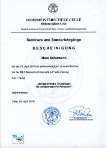 """Bescheinigung """"Bergrechtliche Grundlagen für verantwortliche Personen"""""""