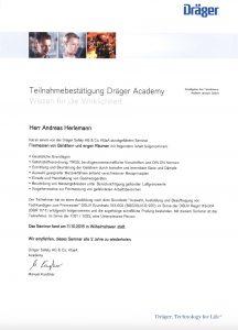 """Teilnahmebestätigung """"Dräger Academy Freimessen von Behältern und engen Räumen"""""""