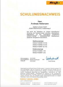 """Schulungsnachweis """"Stahlbrandschutz, Holzbrandschutz"""""""