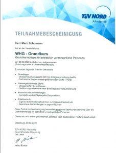 """Teilnahmebescheinigung """"WHG-Grundkurs"""""""