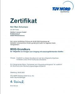 """Zertifikat """"WHG-Grundkurs"""""""