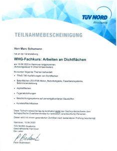 "Teilnahmebescheinigung ""WHG-Fachkurs: Arbeiten an Dichtflächen"""