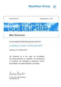 """Zertifikat """"µ-Academy: Modul Airless-Spritzen"""""""