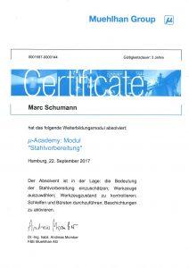 "Zertifikat ""µ-Academy: Modul Stahlvorbereitung"""