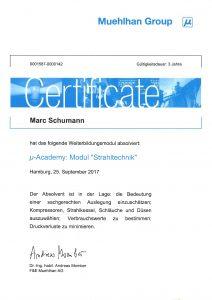 "Zertifikat ""µ-Academy: Modul Strahltechnik"""