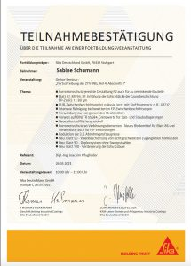 """Teilnahmebestätigung Seminar """"Fortschreibung der ZTV-ING, Teil 4, Abschnitt 3"""""""