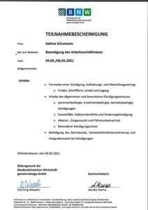 """Teilnahmebescheinigung Seminar """"Beendigung des Arbeitsverhältnisses"""""""