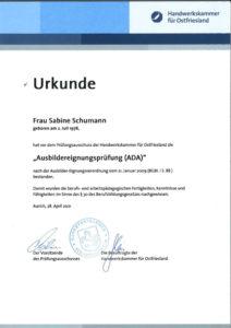 """Urkunde """"Ausbildereignungsprüfung (ADA)"""""""
